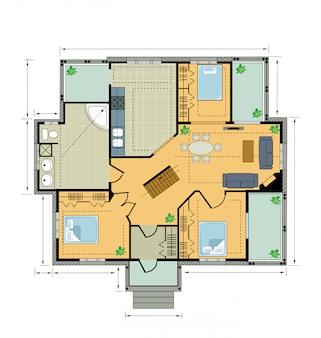 Casa de campo do plano de cores