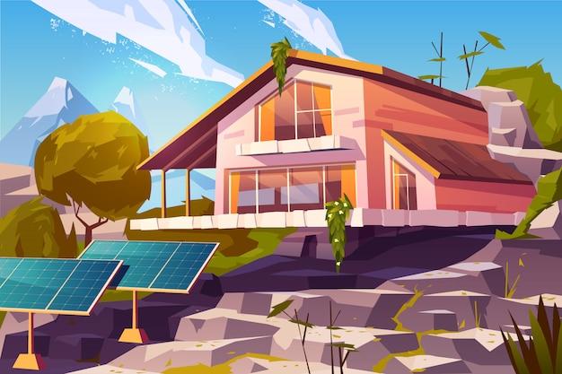 Casa de campo em desenho animado de montanhas