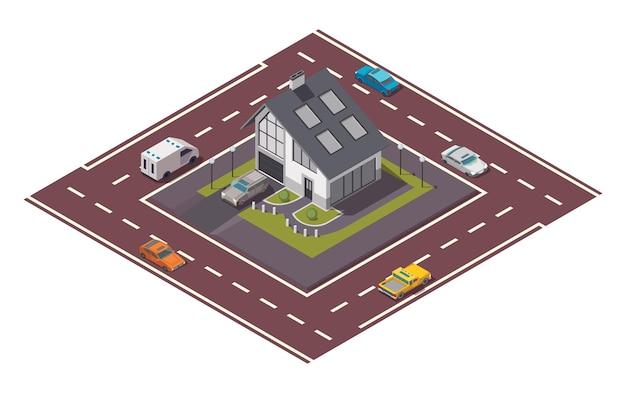 Casa de campo isométrica. construção de imóveis privados para infográficos ou design de jogos. casa com estrada