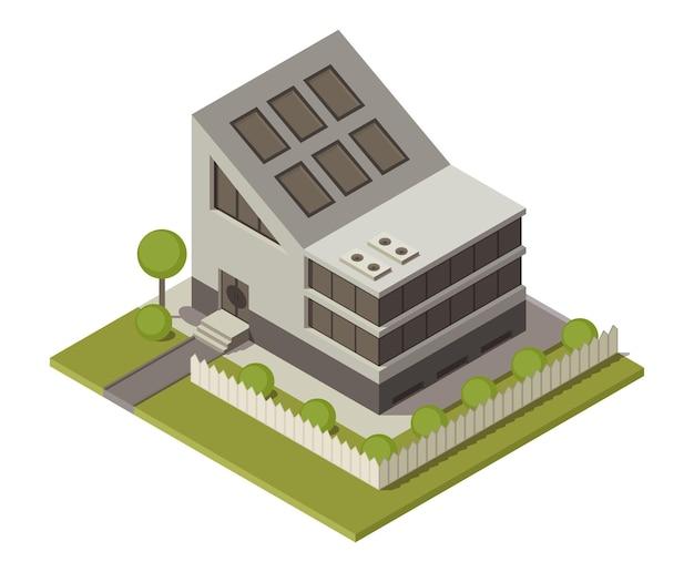 Casa de campo isométrica. construção de imóveis privados para infográficos ou design de jogos
