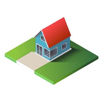 Casa de campo isométrica no chão verde.