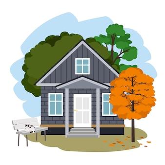 Casa de campo moderna. desenho de uma bela casa de tijolos para férias no outono entre árvores, ilustração vetorial com gato no banco e folhagem de laranja isolada no fundo branco