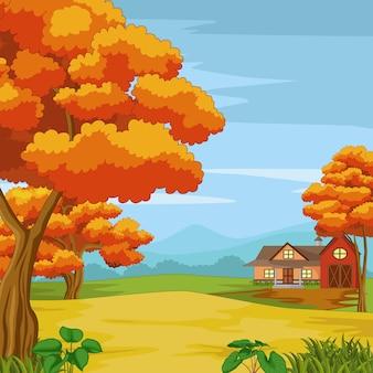 Casa de campo na floresta com montanha