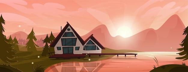 Casa de campo no lago da montanha na floresta