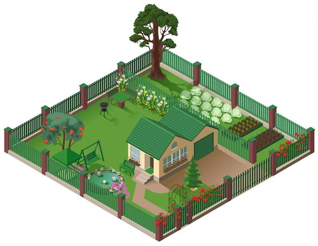 Casa de campo privada cottage e jardim. ilustração isométrica em casa subúrbio americano