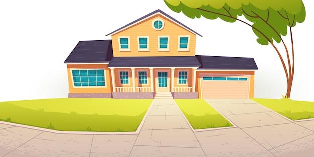 Casa de campo suburbana, casa residencial com garagem
