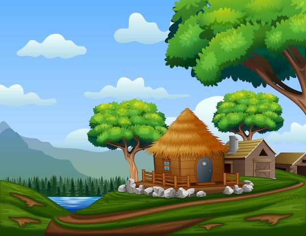 Casa de celeiro dos desenhos animados com uma cabana na colina