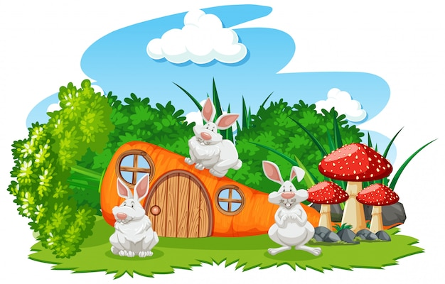 Casa de cenoura com três mouses estilo cartoon sobre fundo branco
