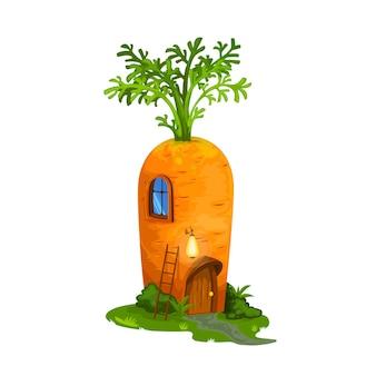 Casa de cenoura de anão ou gnomo, cabana de conto de fadas