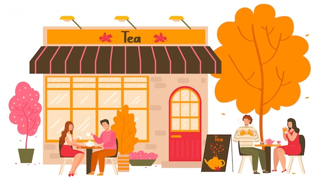 Casa de chá na cidade de outono com mesas ao ar livre e pessoas bebendo chá quente com bule e xícaras de chá cartoon ilustração.
