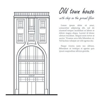 Casa de cidade velha com loja no térreo. desenho de contorno azul escuro. modelo para o seu texto.