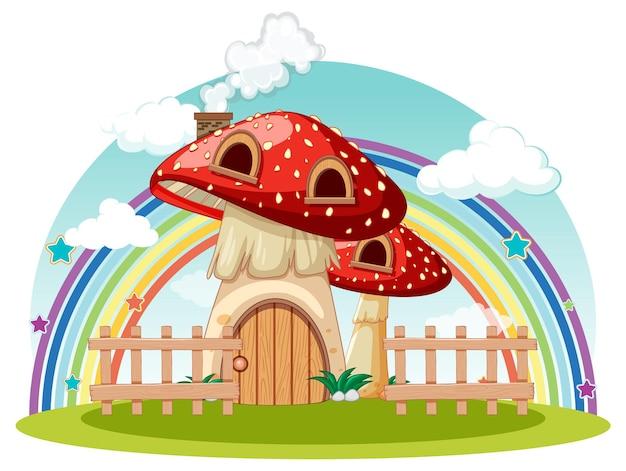 Casa de cogumelo com arco-íris no céu