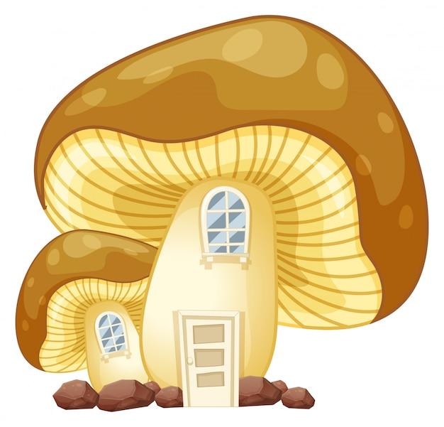 Casa de cogumelo com porta e janelas