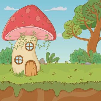 Casa de cogumelo de conto de fadas