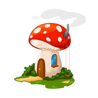 Casa de cogumelo de fada ou residência de gnomo e casa de anão