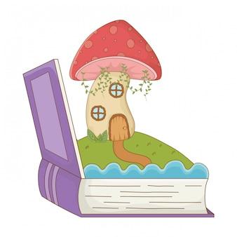 Casa de cogumelo de ilustração em vetor design de conto de fadas