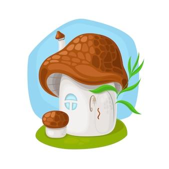 Casa de cogumelo fada na ilustração vetorial de fundo branco
