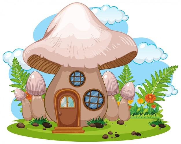 Casa de cogumelo fantasia isolada