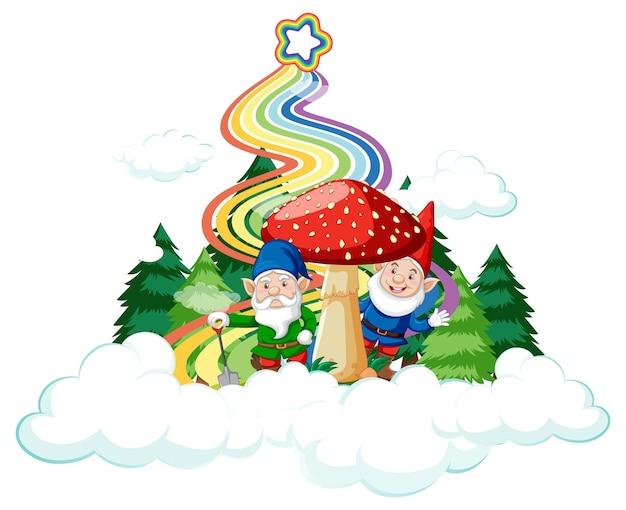 Casa de cogumelo na nuvem com arco-íris