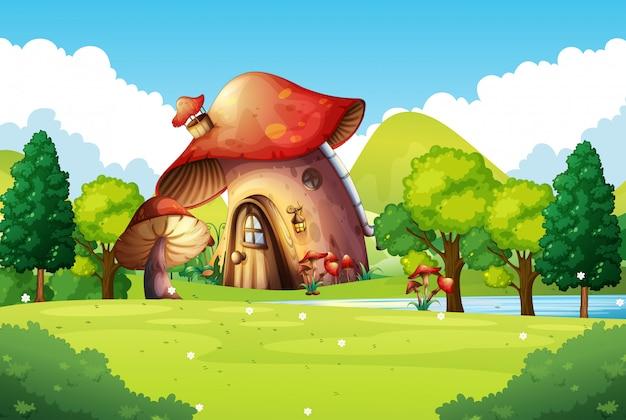 Casa de cogumelo no campo