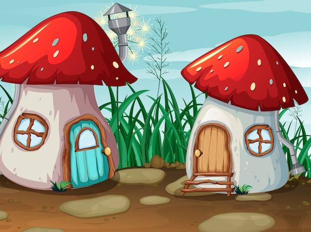 Casa de cogumelos encantada na natureza