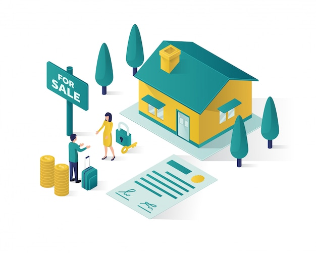 Casa de compra on-line isométrica