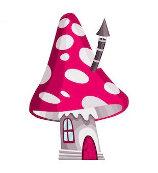 Casa de conto de fadas. casa de cogumelo de fantasia. teatro de conto de fadas de crianças isolado