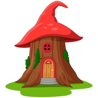 Casa de conto de fadas de desenho animado feita de chapéu