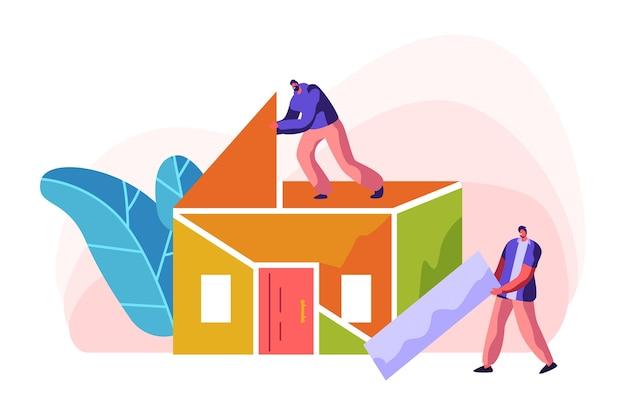Casa de cor de construção de construtor humano. homem em processo de instalação telhado em casa. capataz de pessoa carrega novo material de peça para trabalho de construção. construção do projeto de estágio. ilustração em vetor plana dos desenhos animados