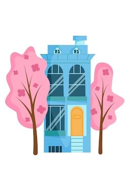 Casa de desenho animado azul bonito e árvores-de-rosa com flores. primavera de construção na rua. ilustração em vetor plana.
