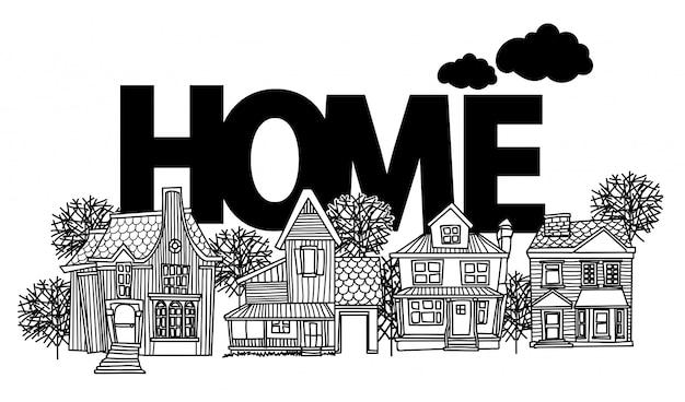 Casa de desenho e desenho preto e branco com ilustração de arte de linha isolada