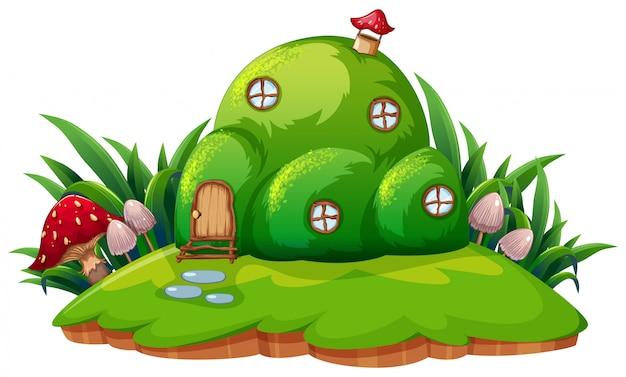 Casa de desenhos animados de fantasia verde