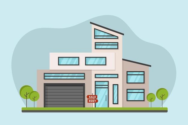 Casa de design plano para alugar