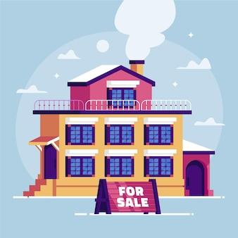 Casa de design plano para ilustração de venda