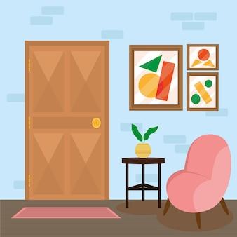 Casa de entrada confortável com sofá rosa