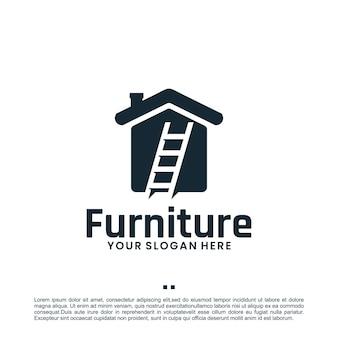 Casa de escada, móveis, modelo de design de logotipo