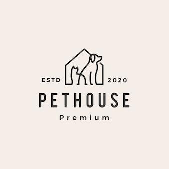 Casa de estimação cachorro gato hipster logotipo vintage icon ilustração