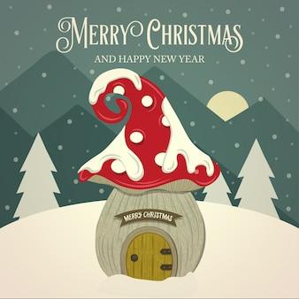 Casa de fadas cogumelo retrô bonito cartão de natal. design plano. vetor