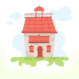 Casa de fadas com telhado de telhas e um galo. ilustração vetorial