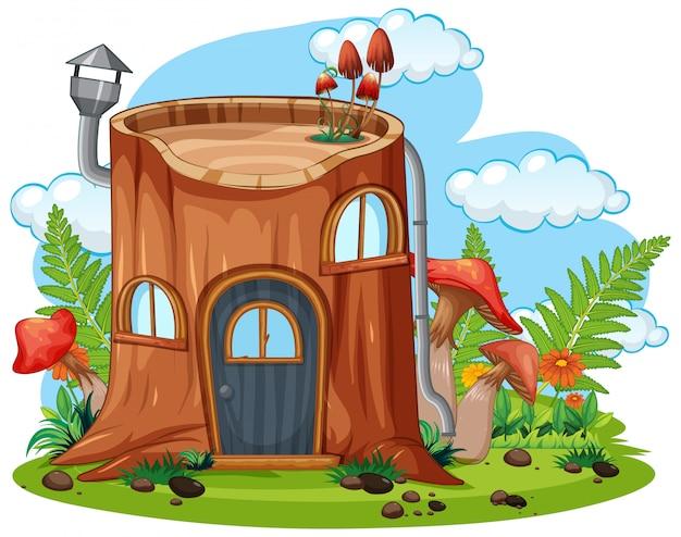 Casa de fadas toco de árvore Vetor Premium