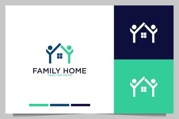 Casa de família com logotipo de pessoas simples