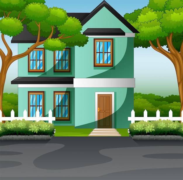 Casa de família do campo com o conceito de gramado do jardim da frente