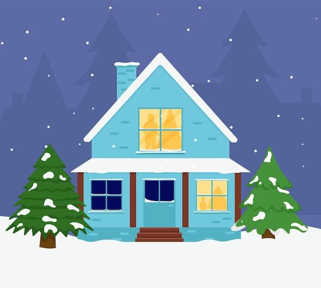 Casa de família. feliz natal, inverno. rua de natal