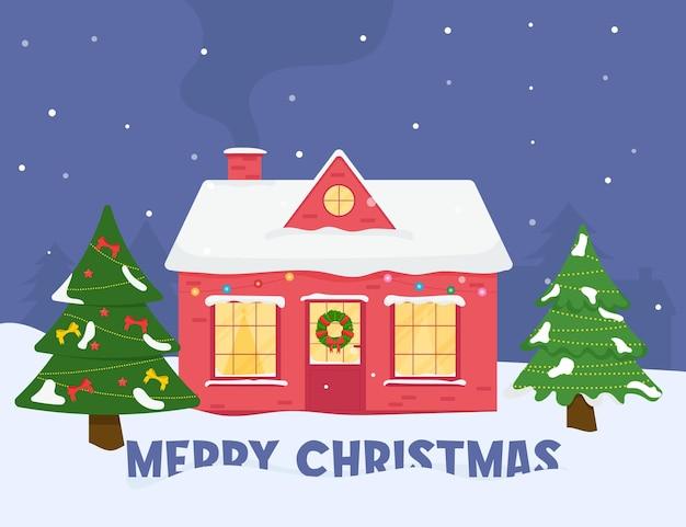 Casa de família. feliz natal, inverno. saudação de natal.