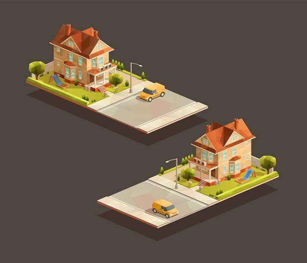 Casa de família isométrica com minivan na rua