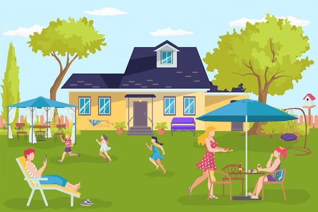 Casa de família, pessoas felizes em ilustração de quintal de casa. pai mãe filho nas férias de verão, perto de construção de paisagem. estilo de vida divertido para pais e filhos, união de fim de semana ao ar livre.