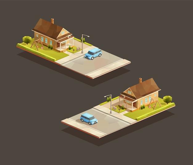 Casa de família pobre isométrica com carro mpv na rua
