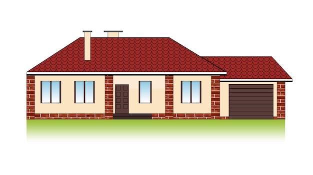 Casa de família suburbana com garagem, telhado de telha e fachada de tijolo.