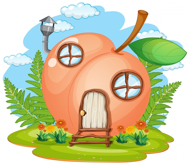 Casa de fantasia pêssego isolado