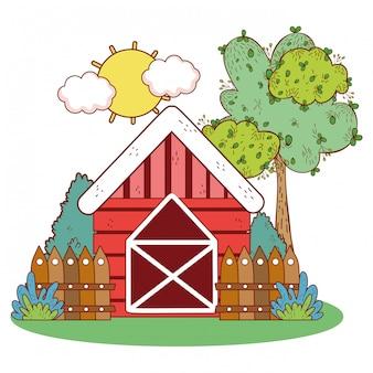 Casa de fazenda com cerca de madeira e árvore